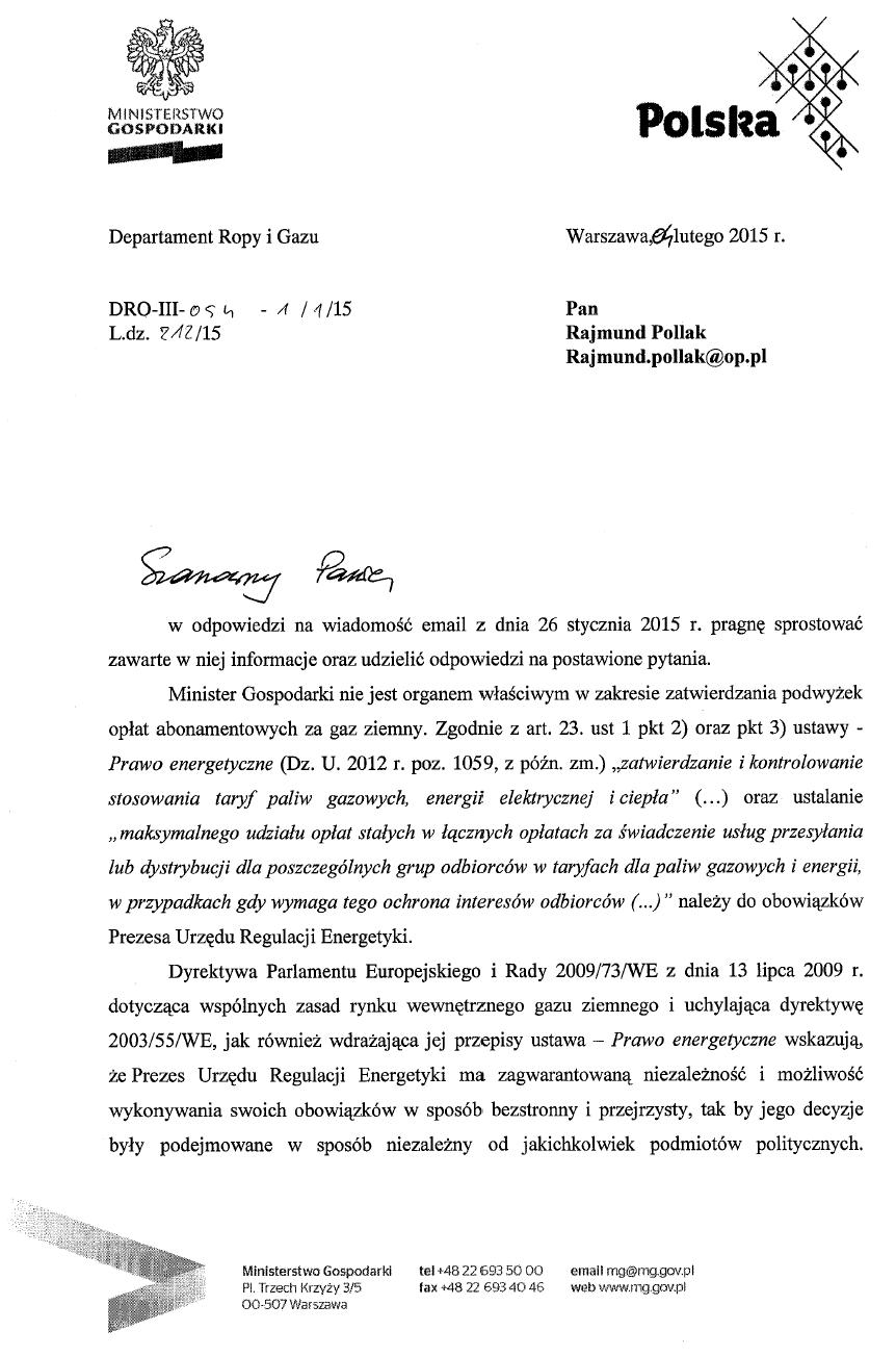 Odpowiedź z Ministerstwa Gospodarki